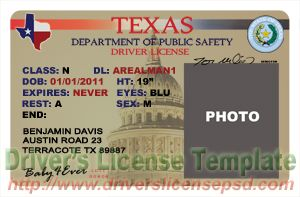 Blank Texas Drivers License Template