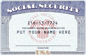 fake social security card template