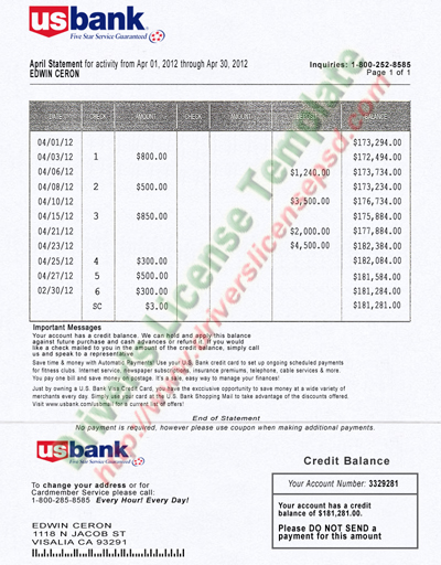 Drivers license fake drivers license drivers license for Free bank statement template